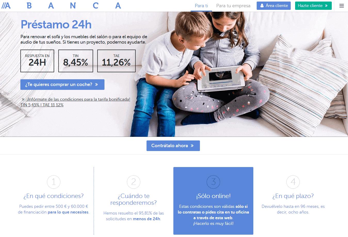 Abanca préstamo sitio web