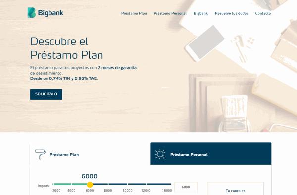 BigBank préstamos sitio web