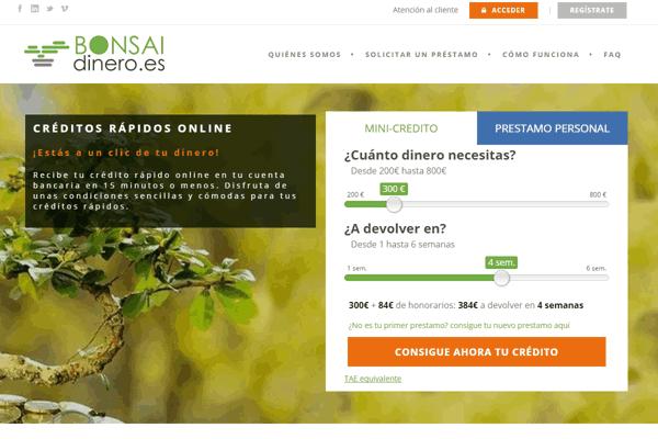 Bonsai Dinero créditos sitio web