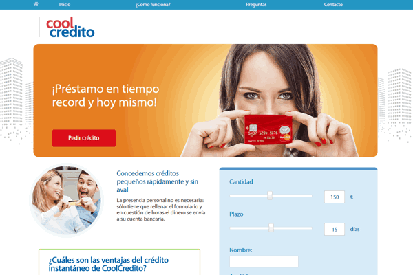 CoolCredito Microcreditos sitio web