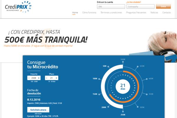 CrediPRIX créditos sitio web