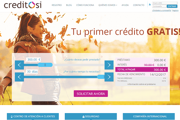 CreditoSi crédito rápido sitio web