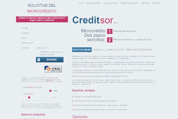 Creditsor microcrédito sitio web