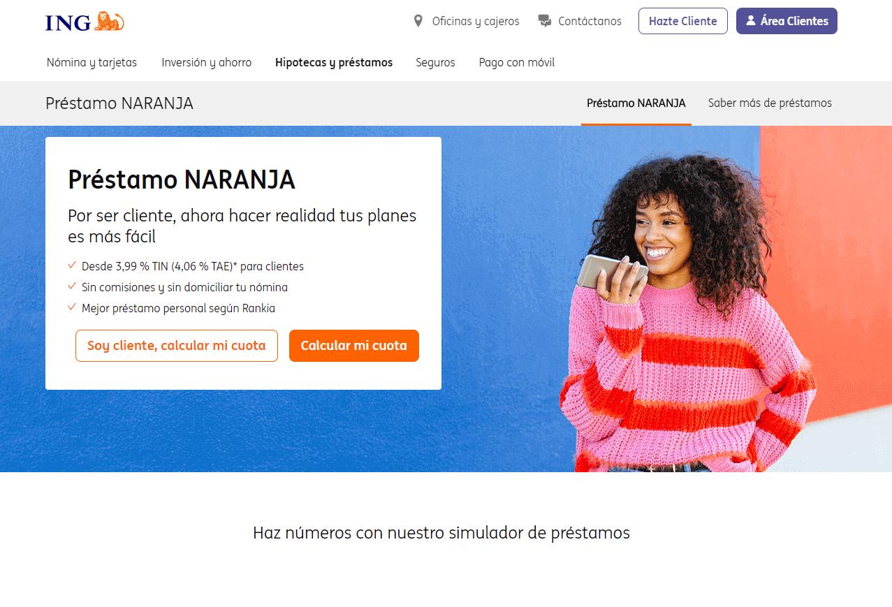 Préstamo Naranja sitio web