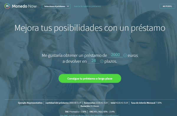 Monedo Now préstamos sitio web