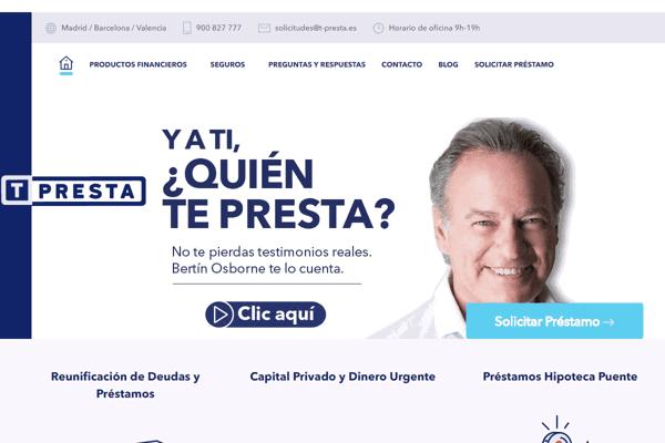 T-Presta Créditos hipotecarios sitio web