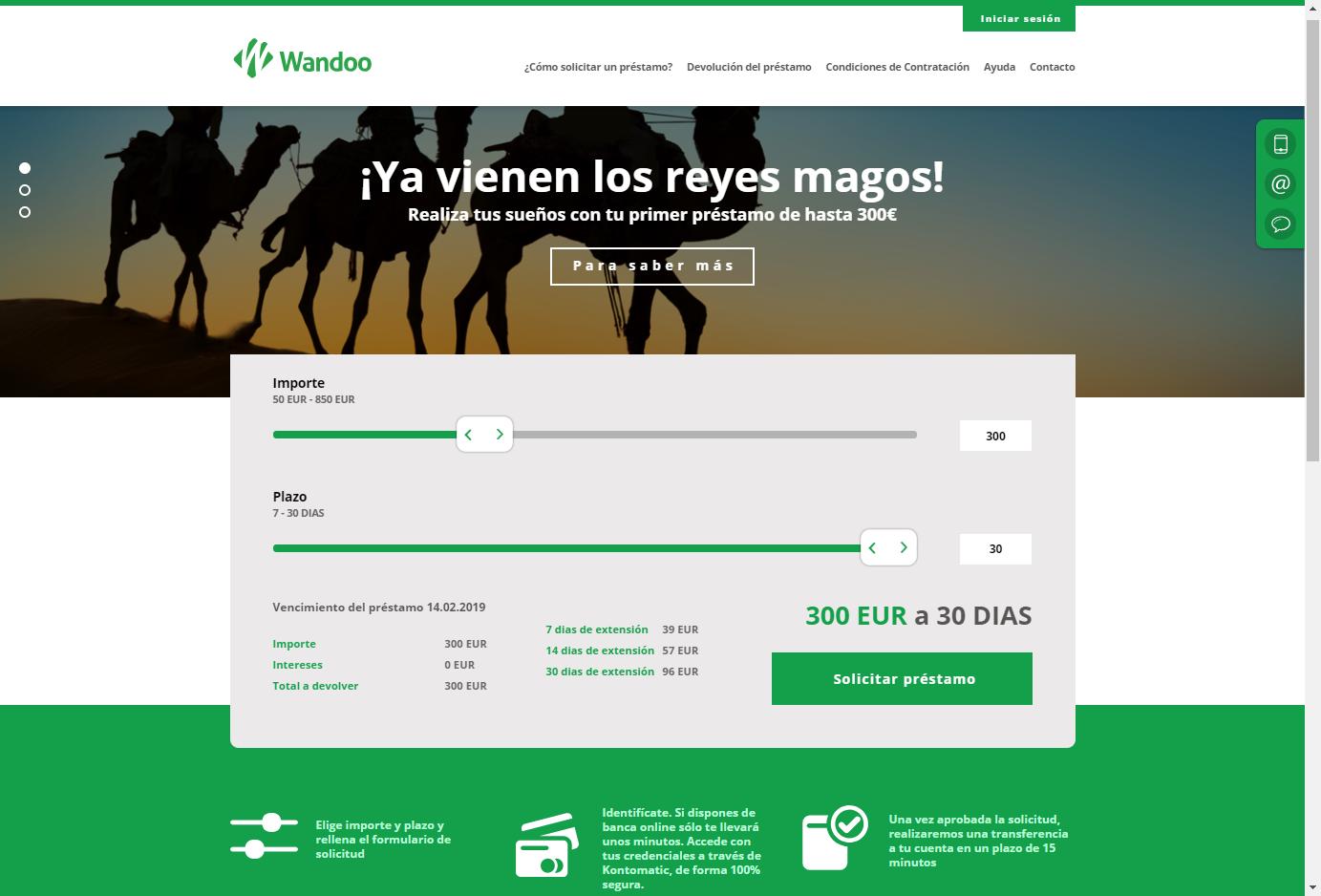 Wandoo créditos sitio web