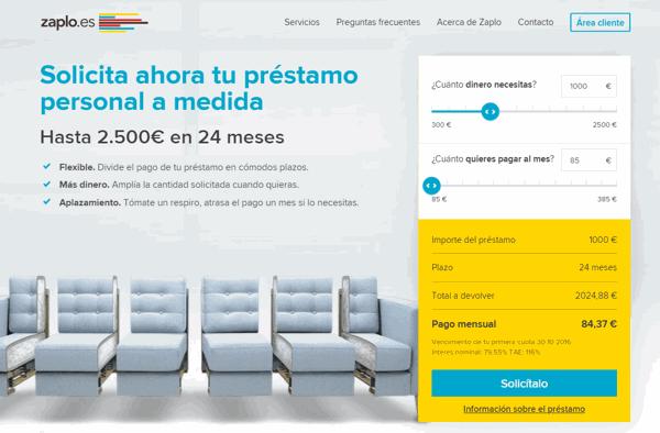 Zaplo créditos sitio web